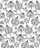Seamless texture with black and white doodle leaves Royalty Free Stock Images