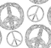 Seamless texture with a black and white peace symbol and a boho pattern on a white background. Royalty Free Stock Image