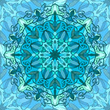 Seamless texture with blue carved pattern mandala Stock Photos