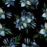 Seamless texture of blue different flowers and leaves on dark bl stock illustration