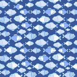 Seamless Texture of Blue Fishes Royalty Free Stock Photography