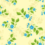 Seamless texture with blue flowers - vector Royalty Free Stock Photo