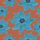 Seamless texture of blue water lily flower. Retro Stock Photo