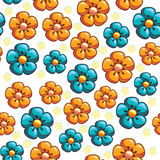 Seamless texture with blue and yellow flowers. Cartoon seamless texture of blue and yellow flowers Stock Photos
