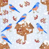 Seamless texture bluebirds with feeder with snow christmas theme natural background vintage vector illustration editable hand dra stock illustration