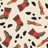 Seamless texture with boots and shoes. Stock Images