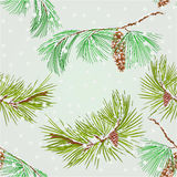 Seamless texture branch pine and Snowflakes vector. Seamless texture branch pine and Snowflakes natural background vector illustration Royalty Free Stock Photos