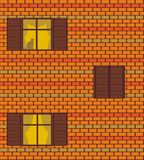 Seamless  texture with brickwall and windows Royalty Free Stock Photo