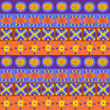 Seamless texture with bright ethnic patterns Royalty Free Stock Images