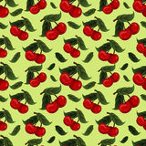 Seamless texture - bright juicy fresh cherry fruit Stock Photo