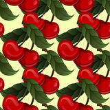 Seamless texture - bright juicy fresh cherry fruit Stock Image