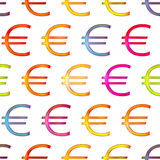 Seamless texture of bright shiny colorful euro sign Stock Photography