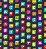 Seamless Texture with Business and Financial Colorful Icons Royalty Free Stock Photos
