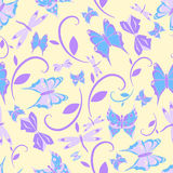 Seamless Texture Butterfly. Blue, vector Stock Photography