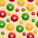 Seamless texture with buttons. Seamless texture with sewing buttons: red, yellow and green colors Royalty Free Stock Images