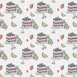 Seamless texture with cake and berries.  royalty free illustration