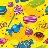 Seamless texture of candy. Seamless texture of sweet candy on a yellow background Royalty Free Stock Photo