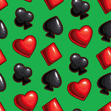 Seamless texture with card suits. Vector seamless texture made with hearts, diamonds, spades, clubs signs on dark background Stock Image