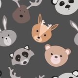 Seamless texture with cartoon animals. Pattern with animals for children. Textile. Vector graphics. Royalty Free Stock Images