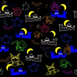 Seamless texture with cartoon characters of the holiday Halloween. On a black background vector illustration