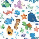 Seamless texture with cartoon fishes. Prints for textiles with the inhabitants of the sea. Printing for fabric. An. Illustration on the wallpaper Vector Illustration