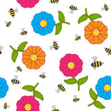 Seamless texture with cartoon flowers and bees. Royalty Free Stock Photo
