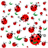 Seamless texture with cartoon ladybugs Royalty Free Stock Photography