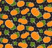 Seamless texture with cartoon pumpkin stickers Stock Photography