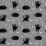Seamless texture with cats Stock Image