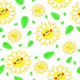 Seamless texture with a cheerful sun Royalty Free Stock Photos