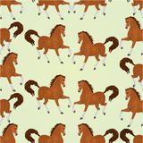 Seamless  texture chestnut horses vector Stock Image