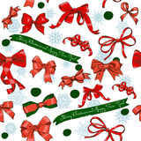 Seamless texture with Chrestmas red bows Stock Photo