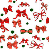 Seamless texture with Chrestmas red bows Stock Images
