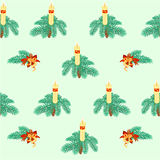 Seamless texture christmas candle decorations vector Stock Image