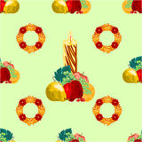 Seamless texture christmas candle with fruit vector Royalty Free Stock Images