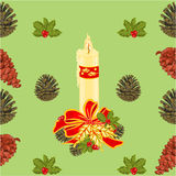 Seamless texture christmas candle with pine cones vector Stock Image