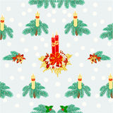 Seamless texture christmas candle and snow vector Royalty Free Stock Images