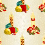 Seamless texture Christmas candlelights with bows pine cones and poinsettia and various fruit vintage vector illustration editabl Stock Image