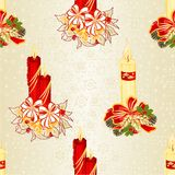 Seamless texture Christmas candlelights with bows pine cones and poinsettia vintage vector illustration editable Royalty Free Stock Images