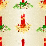 Seamless texture Christmas candlelights with holly and poinsettia and bow vintage vector illustration editable Royalty Free Stock Image