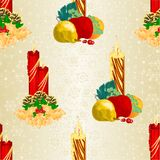 Seamless texture Christmas candlelights with pine cones and holy and various fruit vintage vector illustration editable. Hand draw Royalty Free Stock Image