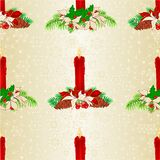 Seamless texture Christmas candlelights with pine cones and poinsettia vintage vector illustration editable Royalty Free Stock Photos