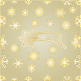 Seamless texture Christmas comet and snowflakes gold  background vector Royalty Free Stock Photo