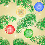Seamless texture Christmas decoration branch with  balls vector. Seamless texture Christmas decoration branch with  red balls and snowflakes vector illustration Stock Photography