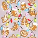 Seamless texture of Christmas gingerbread and garlands Royalty Free Stock Photo