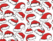 Seamless texture with Christmas hats Stock Photo