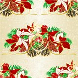 Seamless texture Christmas and New Year decorative spruce branches with pine cones with white and red poinsettia vintage vector i vector illustration