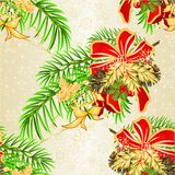 Seamless texture Christmas and New Year decorative christmas spruce tree bow festive poinsettia and bow and pine cones holiday i stock illustration