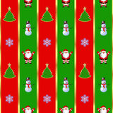 Seamless texture for Christmas packaging. Seamless texture with Santa Claus, snowman, Christmas tree and snowflakes Stock Photos