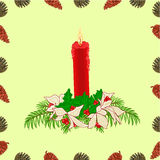 Seamless texture christmas red candle with pine cones vector Royalty Free Stock Photography